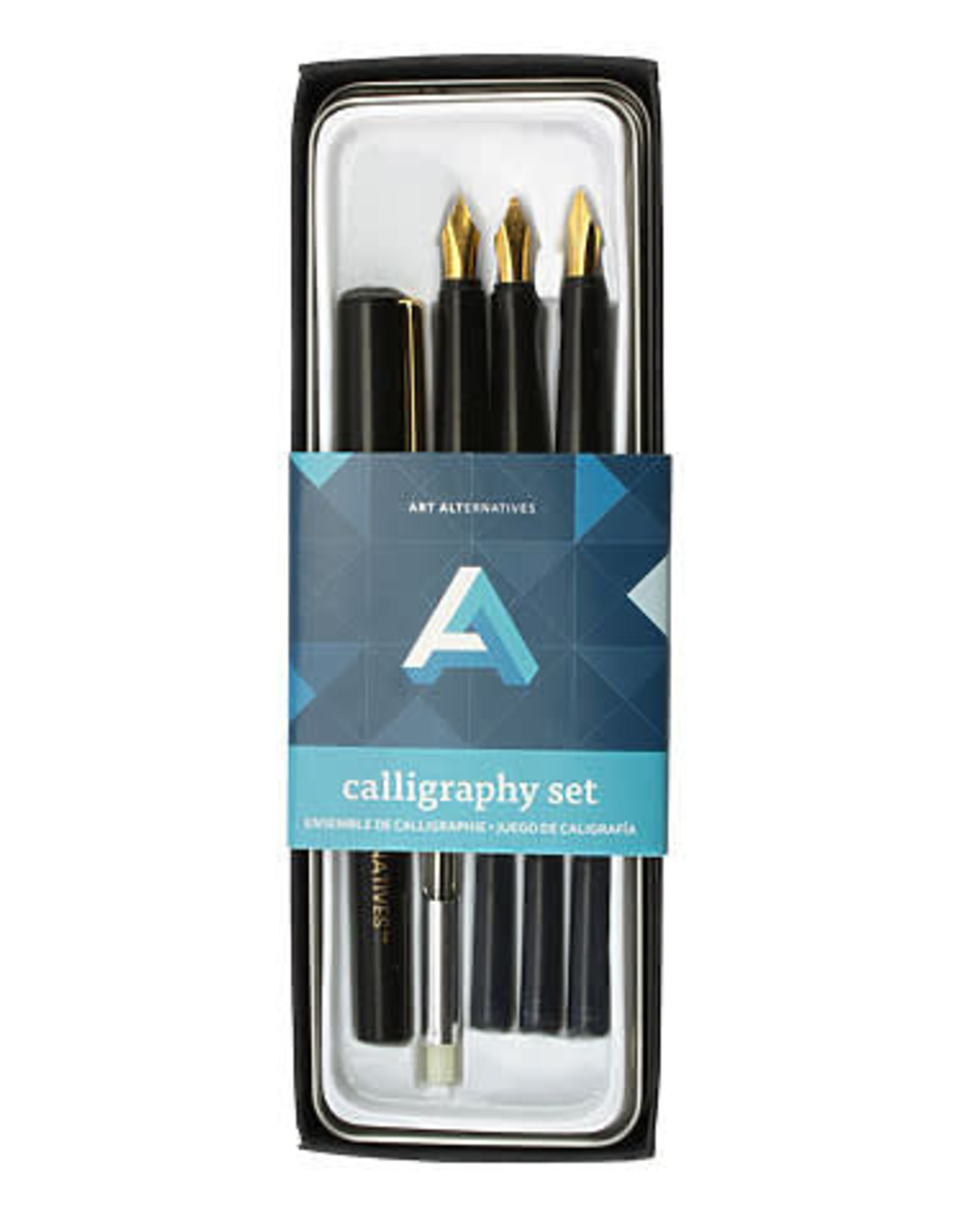 Art Alternatives Calligraphy Art Tin Set, Fountain Pen with 3 Nibs, Converter and Ink