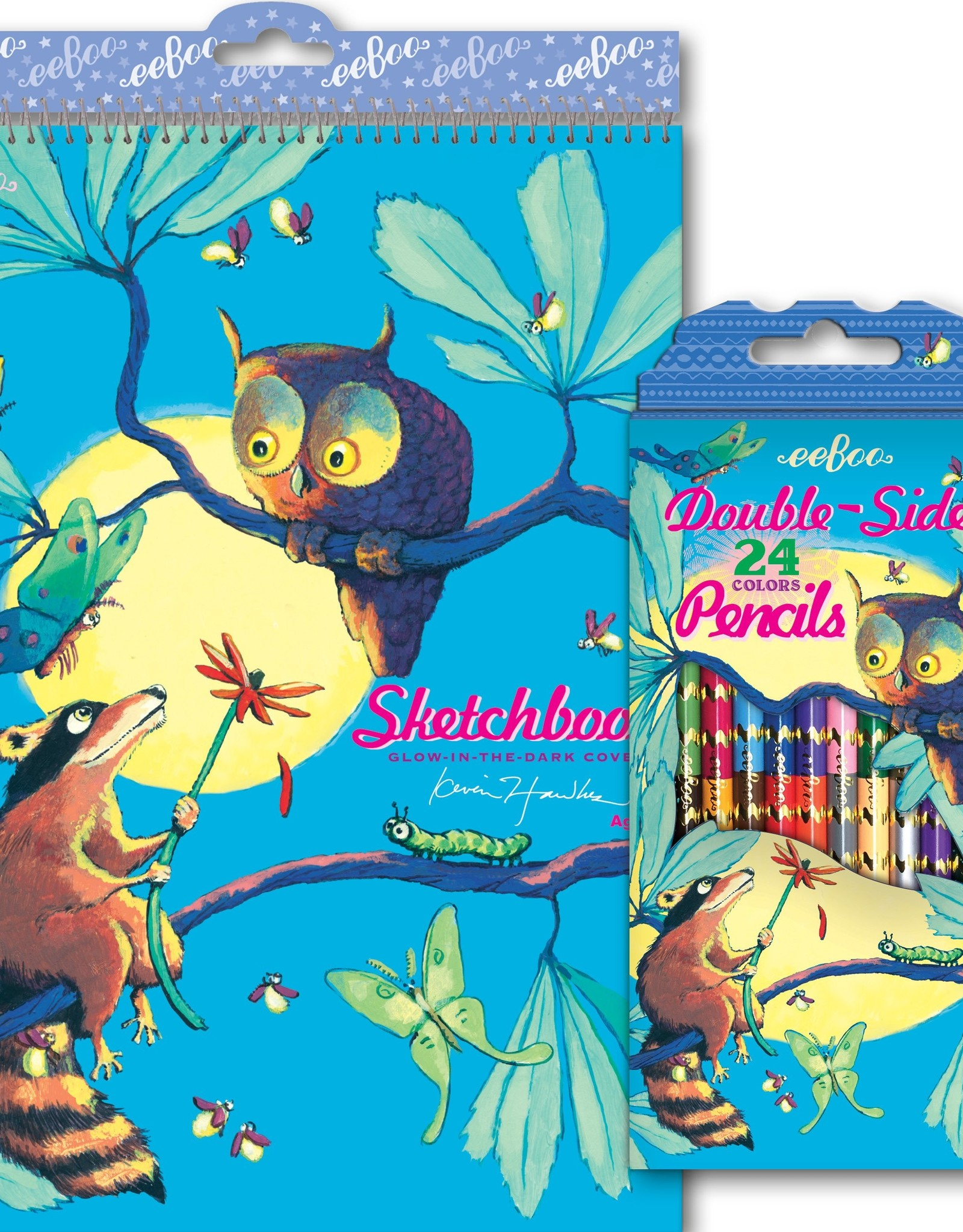 RACCOON AND OWL 12 DOUBLE SIDED PENCILS
