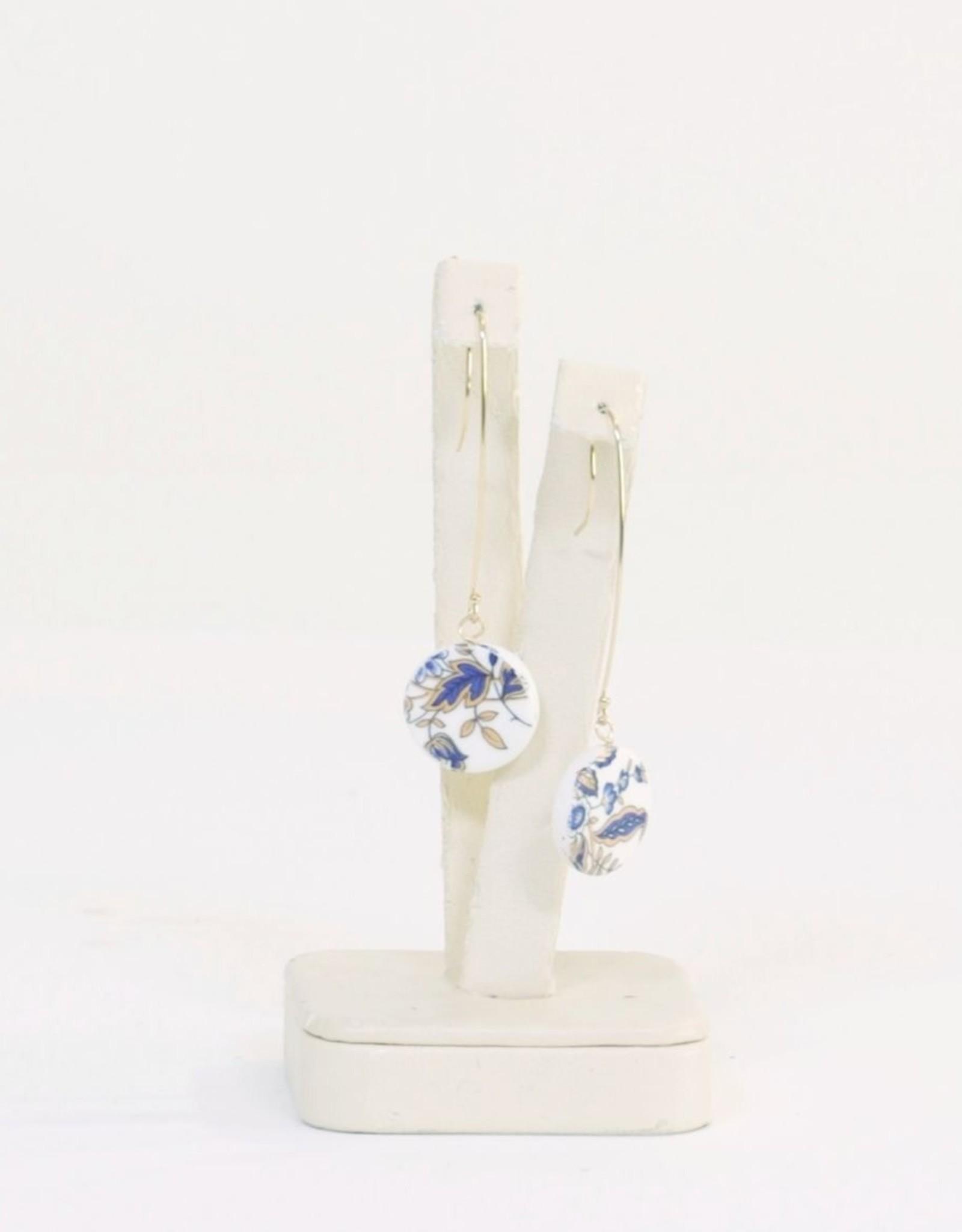 "Melanie Sherman Round Dangle Earring ""TT"" Blue Vintage Flower Decal"