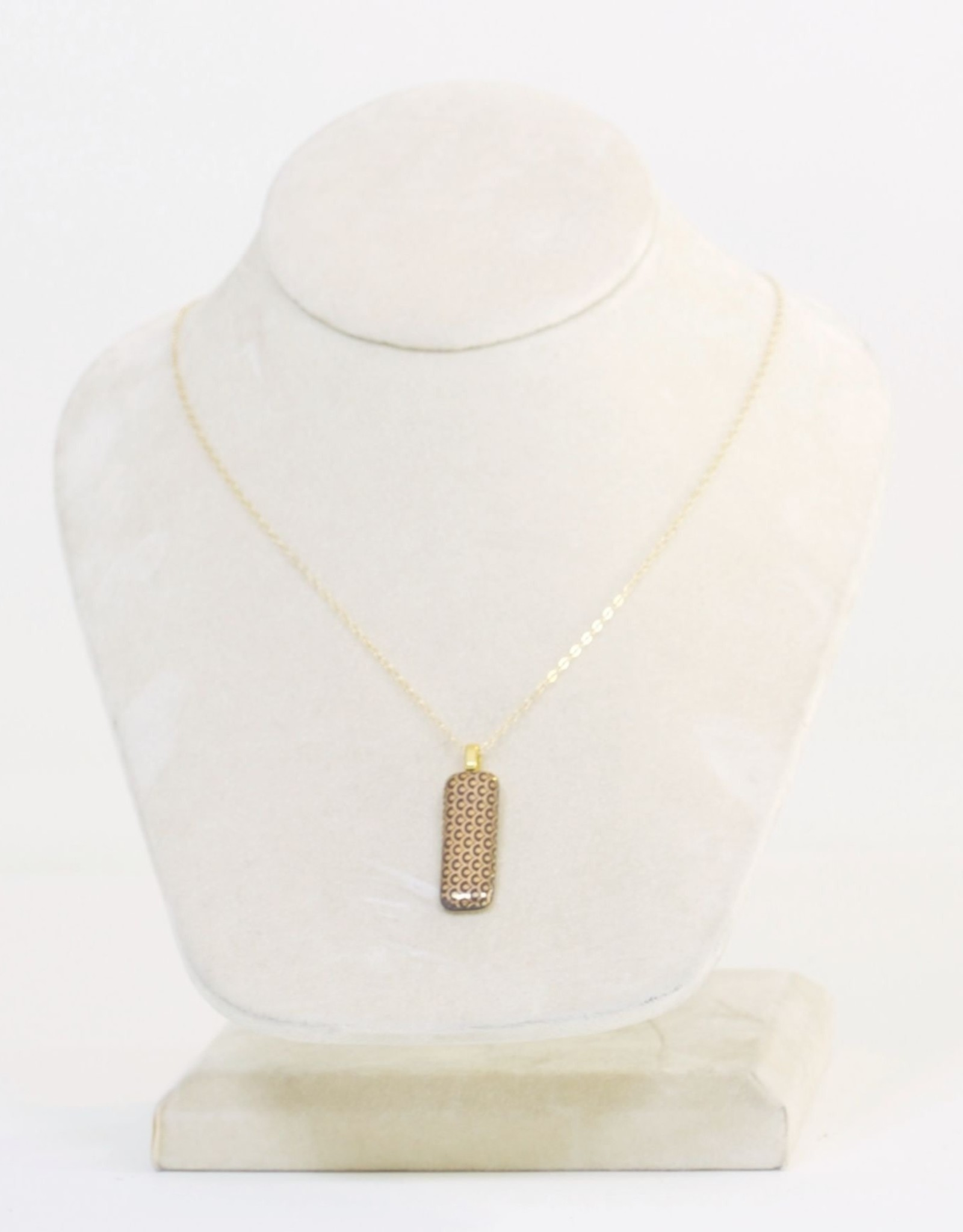 """Melanie Sherman Rectangle Necklace """"MM"""" Black & Gold Decal"""