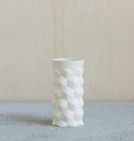 Liz Heller White Porcelain Jewel Vase with clear inner glaze