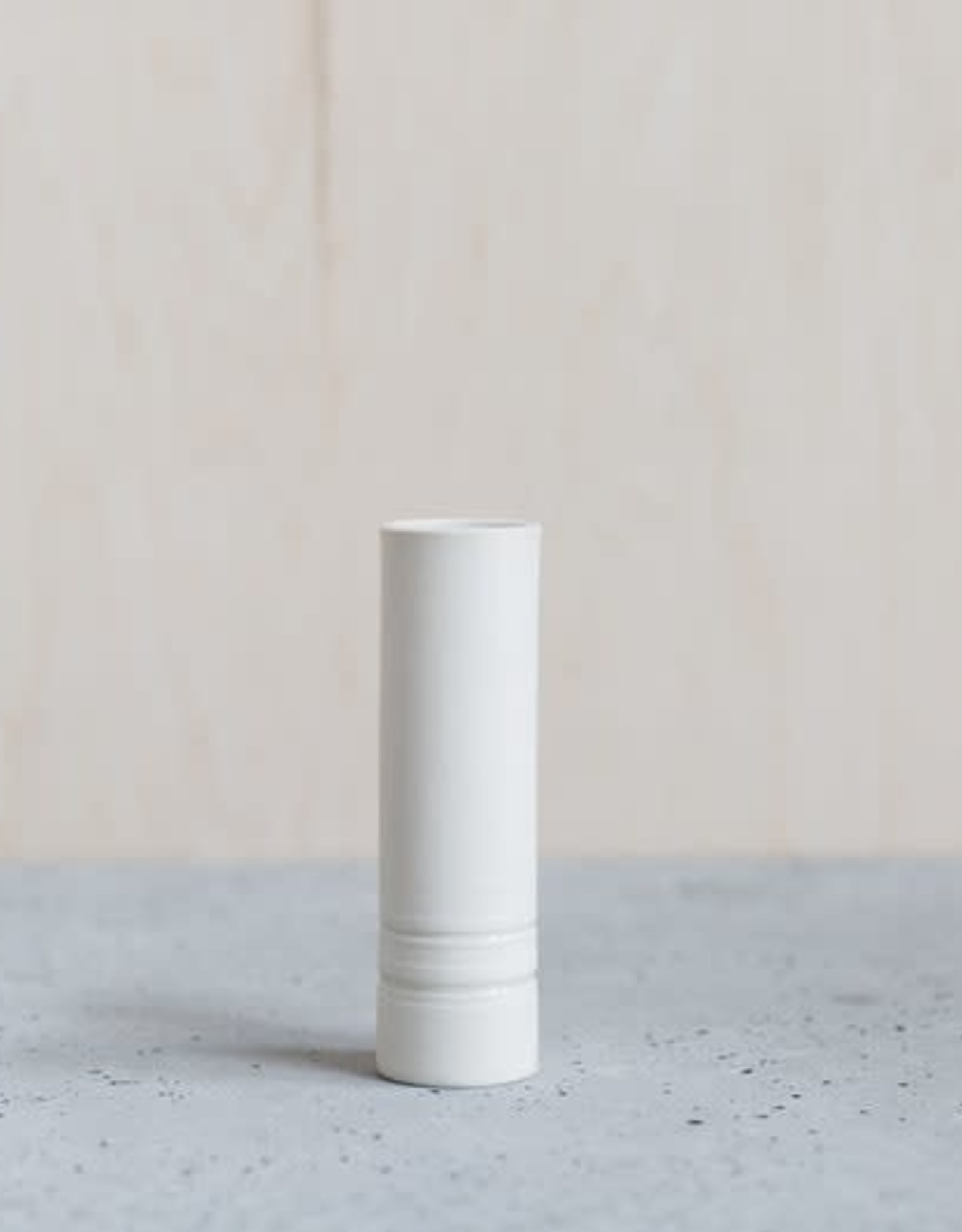Liz Heller White Porcelain Cylinder Bud Vase