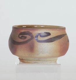 Bradley Walters Warm Brown Bowl with Black Design on Rim