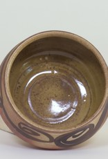 Bradley Walters Warm Brown Bowl with Black Design on Rim