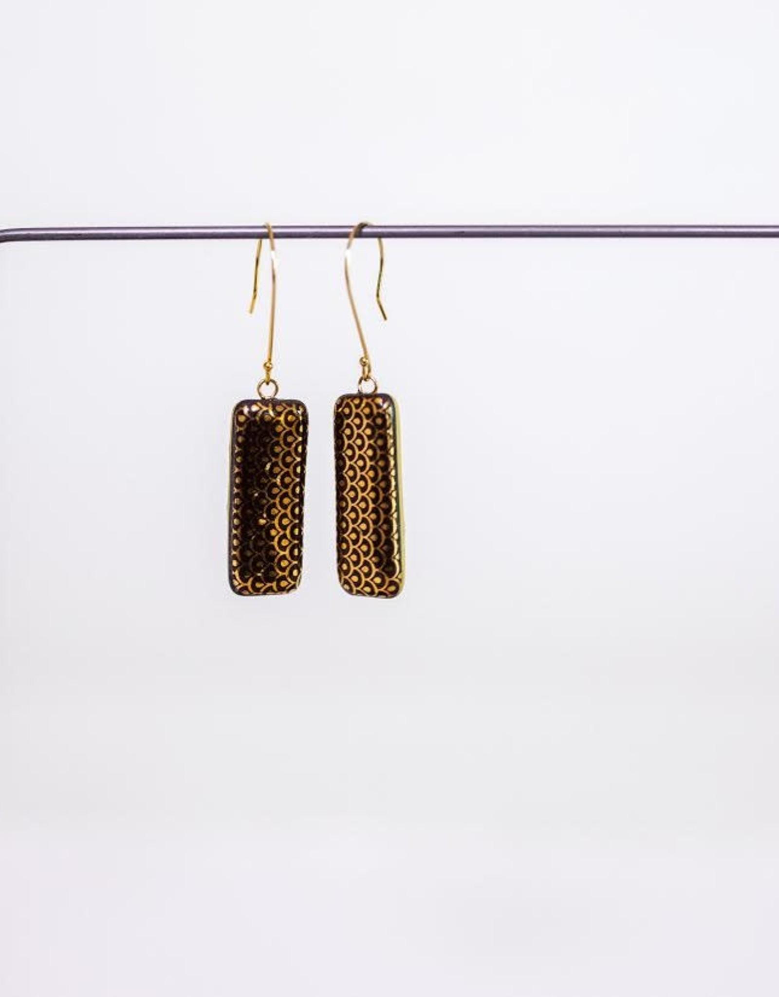 "Melanie Sherman Rectangle Long Dangle Earring ""LL"" Black & Gold Decal"