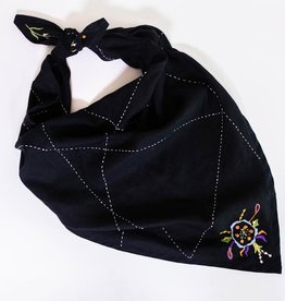Gull Studio Embroidered Scarf Large Black Grid & Flowers