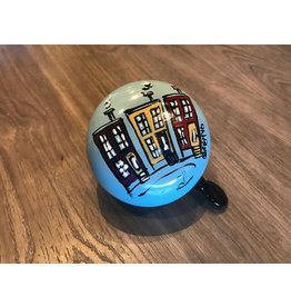 COLOURFUL HOUSES HAND PAINTED BELL (80MM)