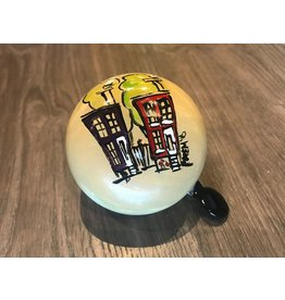 COLOURFUL HOUSES WITH TREES HAND PAINTED BELL (80MM)
