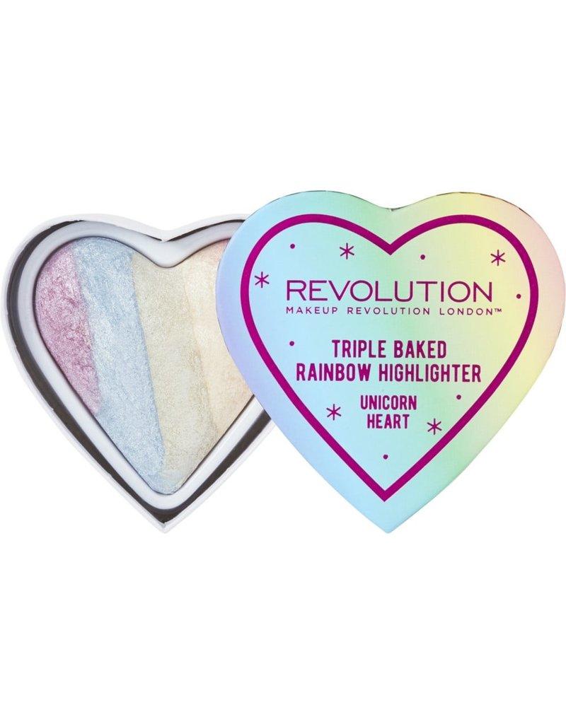 Makeup Revolution Fard Triple Baked Rainbow Highlighter