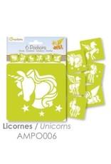 La Licornerie Pochoirs Licorne 6un. 15cmx15cm