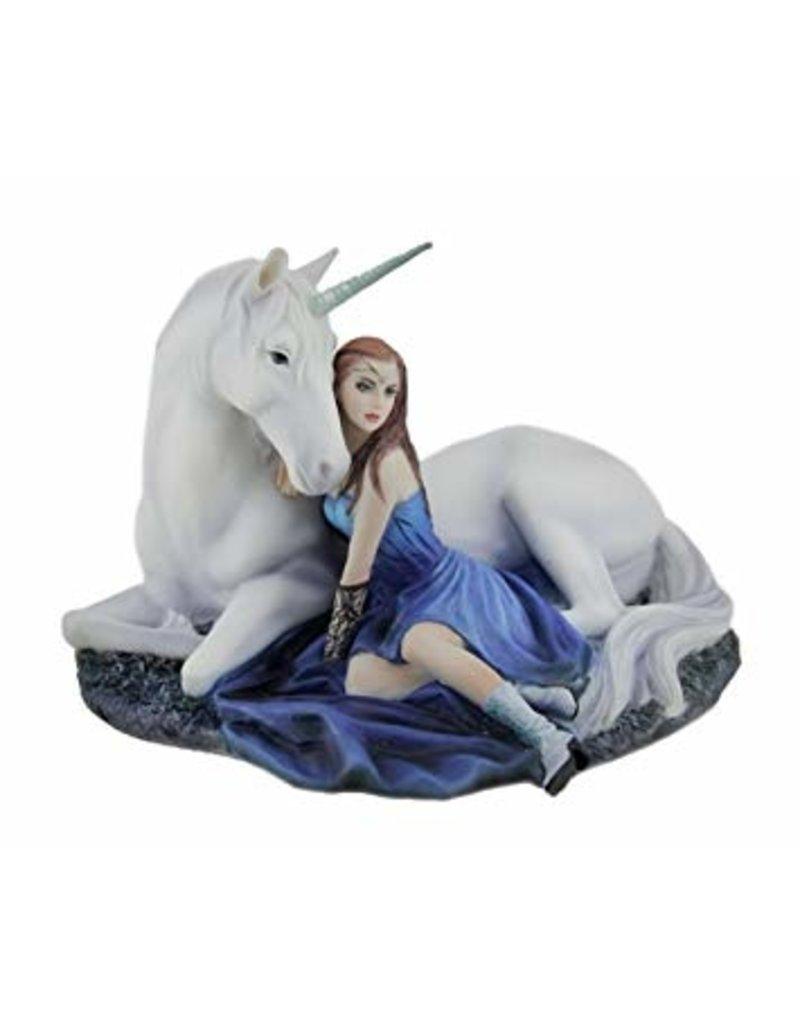 Statue licorne lune bleue