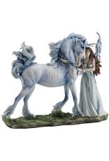 Statue licorne fée blanche