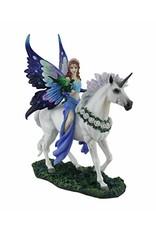 Statue licorne fée bleue