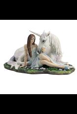 Statue licorne fée cœur pur