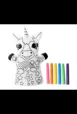 La Licornerie Marionnette peluche à colorier avec 6 crayons