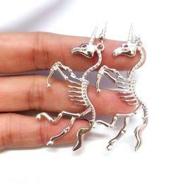 Unicorn Skeleton Earrings