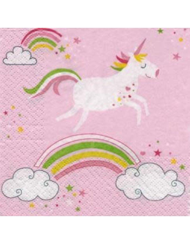 Serviettes de table - Licorne sur arc-en-ciel rose