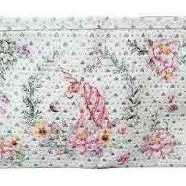 Trousse étincellante avec licorne fleurie et petit miroir intérieur