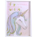 "Cadre licorne avec lettrage brillant ""Always be yourself unless you can be a unicorn"""