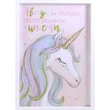"La Licornerie Cadre licorne avec lettrage brillant ""Always be yourself unless you can be a unicorn"""