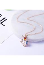 La Licornerie Collier licorne blanche avec crinière arc-en-ciel