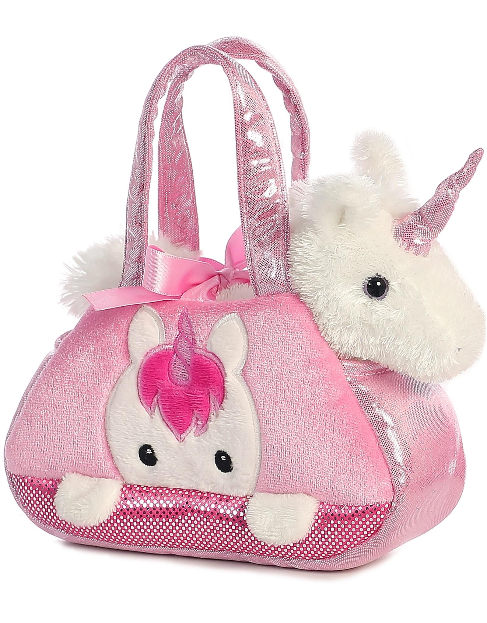 La Licornerie Pink Plush Handbag with its unicorn