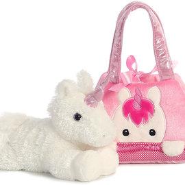 La Licornerie Sac à main en peluche rose avec toutou licorne détachable