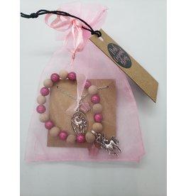 La Licornerie ♥♥ Ensemble bracelet et collier 2 tons bois et perle