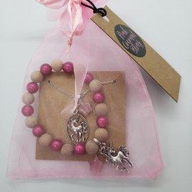 La Licornerie ♥♥ Pearls and Wood Necklace & Bracelet Set