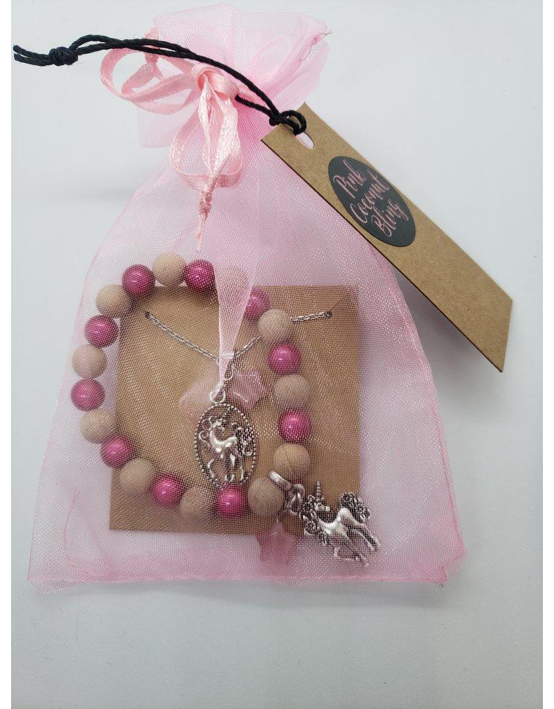 La Licornerie ♥♥ Ensemble bracelet et collier 2 tons bois perle