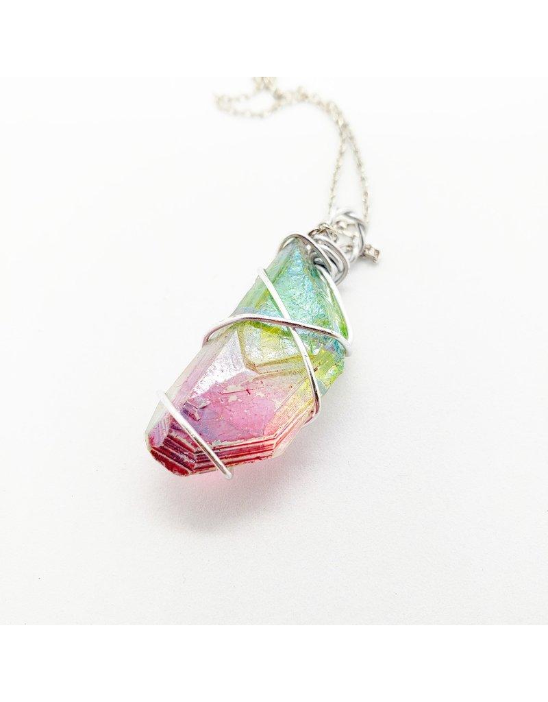 La Licornerie Collier quartz arc en ciel licorne