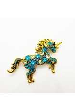 La Licornerie Unicorn Blue Crystal Brooch