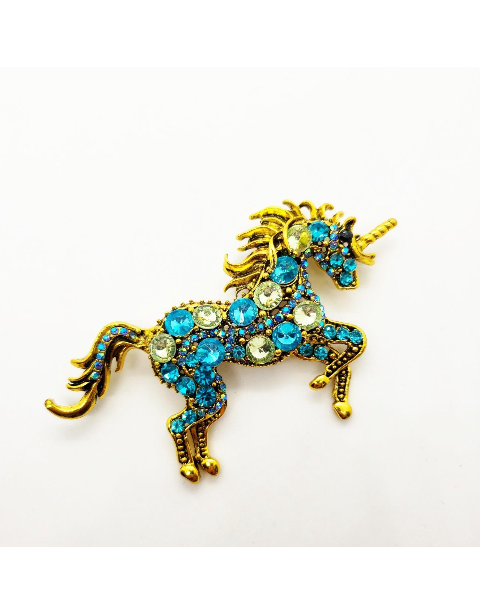 La Licornerie Unicorn Blue Crystal Brooch