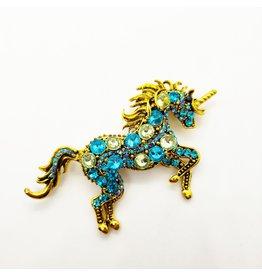 La Licornerie Broche licorne en cristaux Bleue