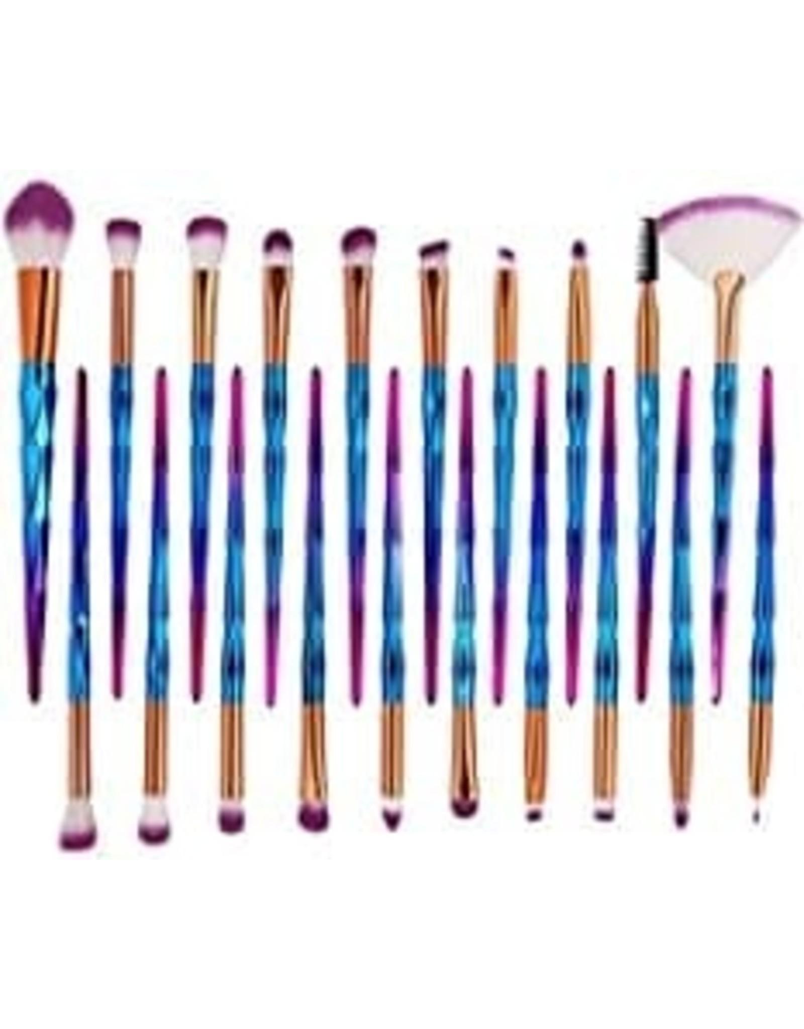 Ensemble de 20 pinceaux à maquillage bleu vif et rose scintillant