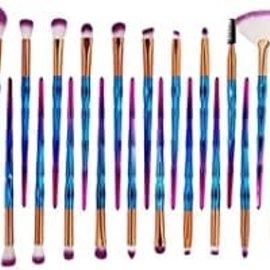La Licornerie Ensemble de 20 pinceaux à maquillage bleu vif et rose scintillant