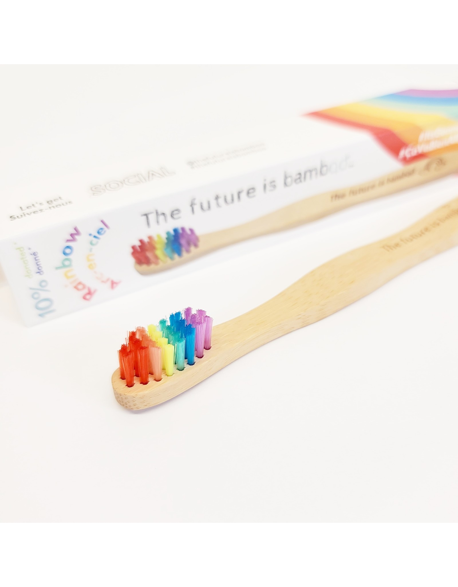 ♥♥ Brosse à dents compostable en bambou Arc-en-Ciel