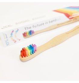 ♥♥ Brosse à dents compostable pour enfants en bambou Arc-en-Ciel