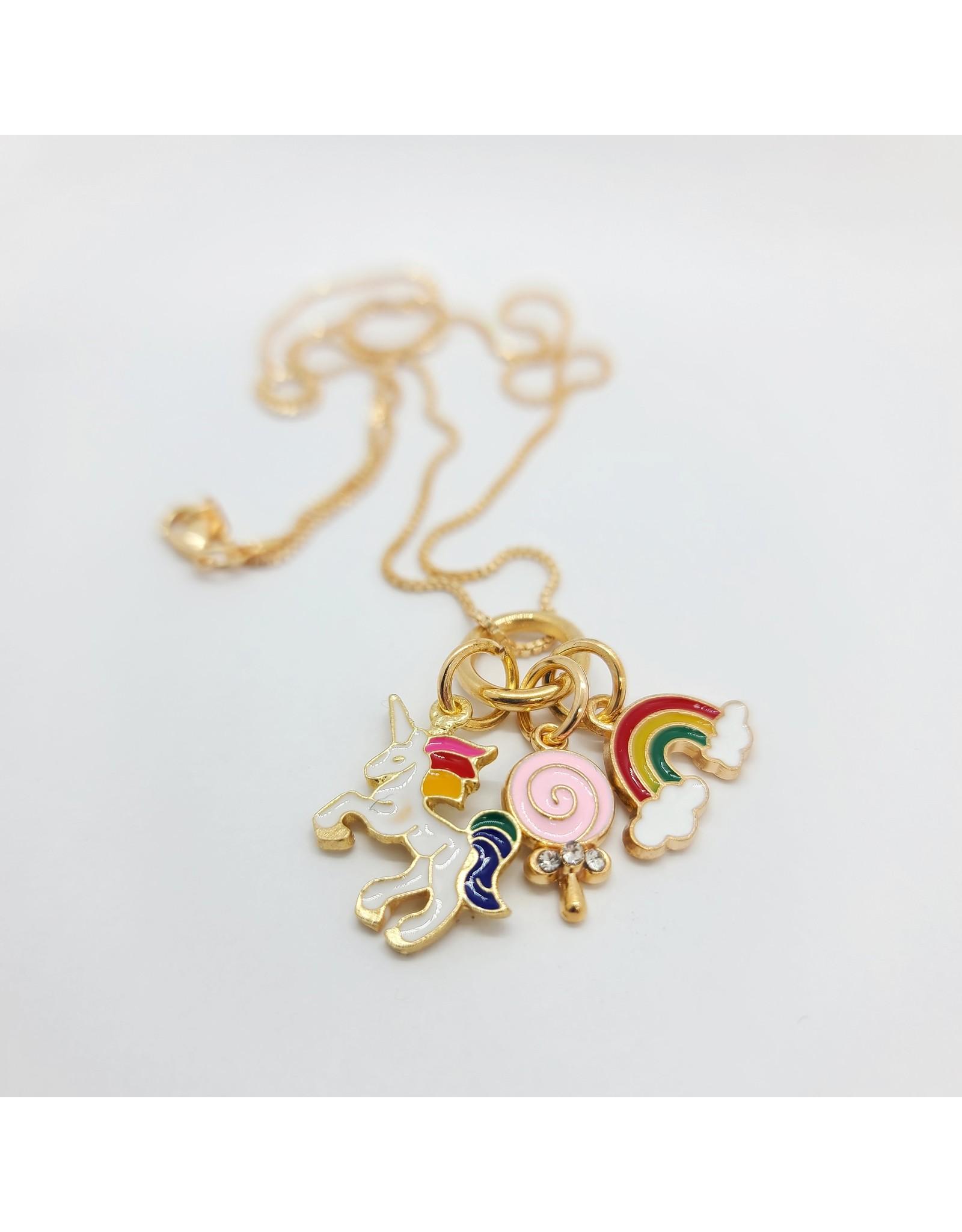 Collier triple pendentif Licorne Arc-en-ciel et cornet