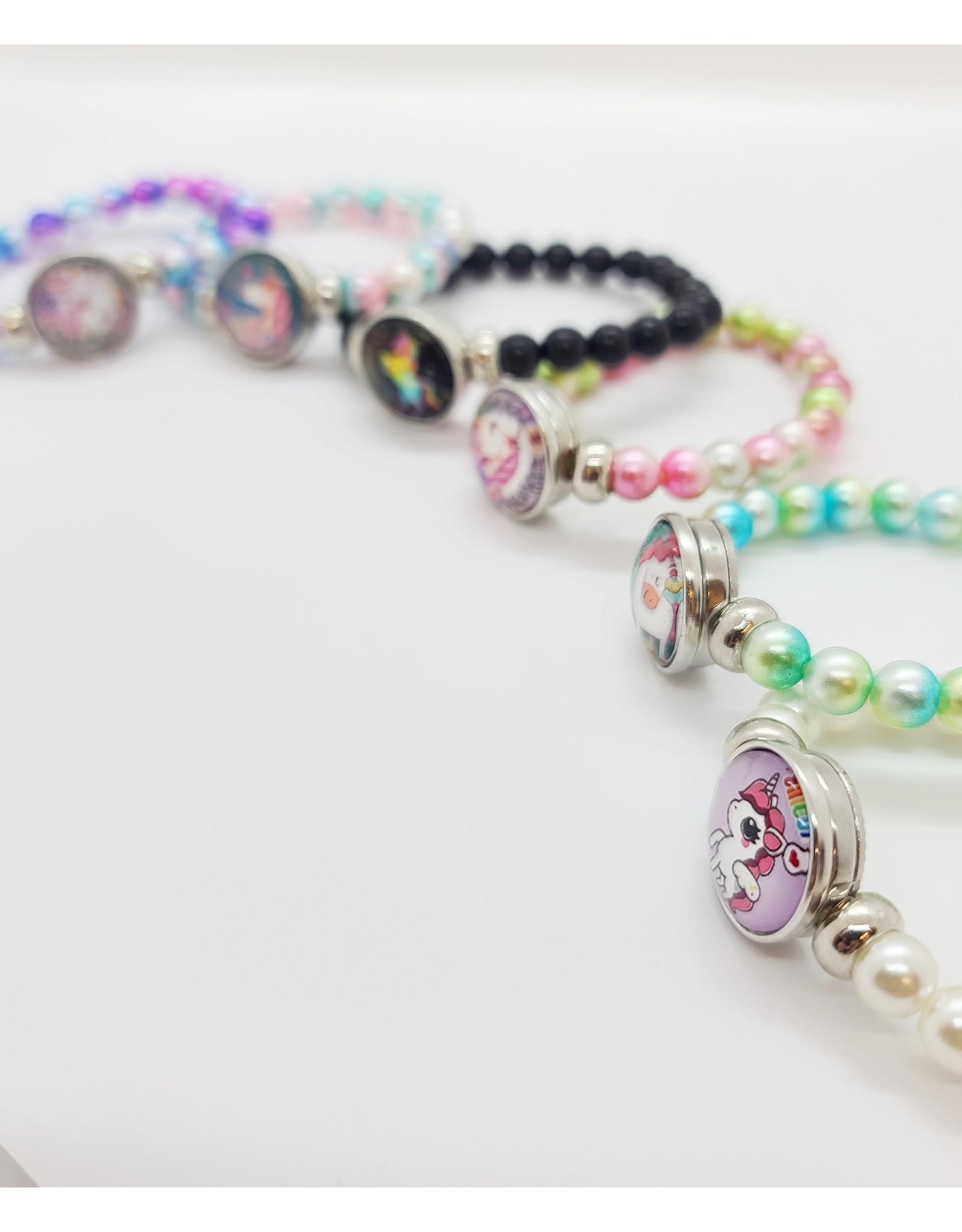 Bracelet perles scintillantes licornesques