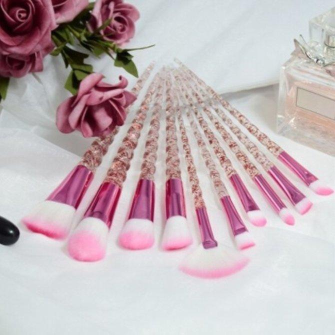 Ensemble 10 pinceaux maquillage style licorne