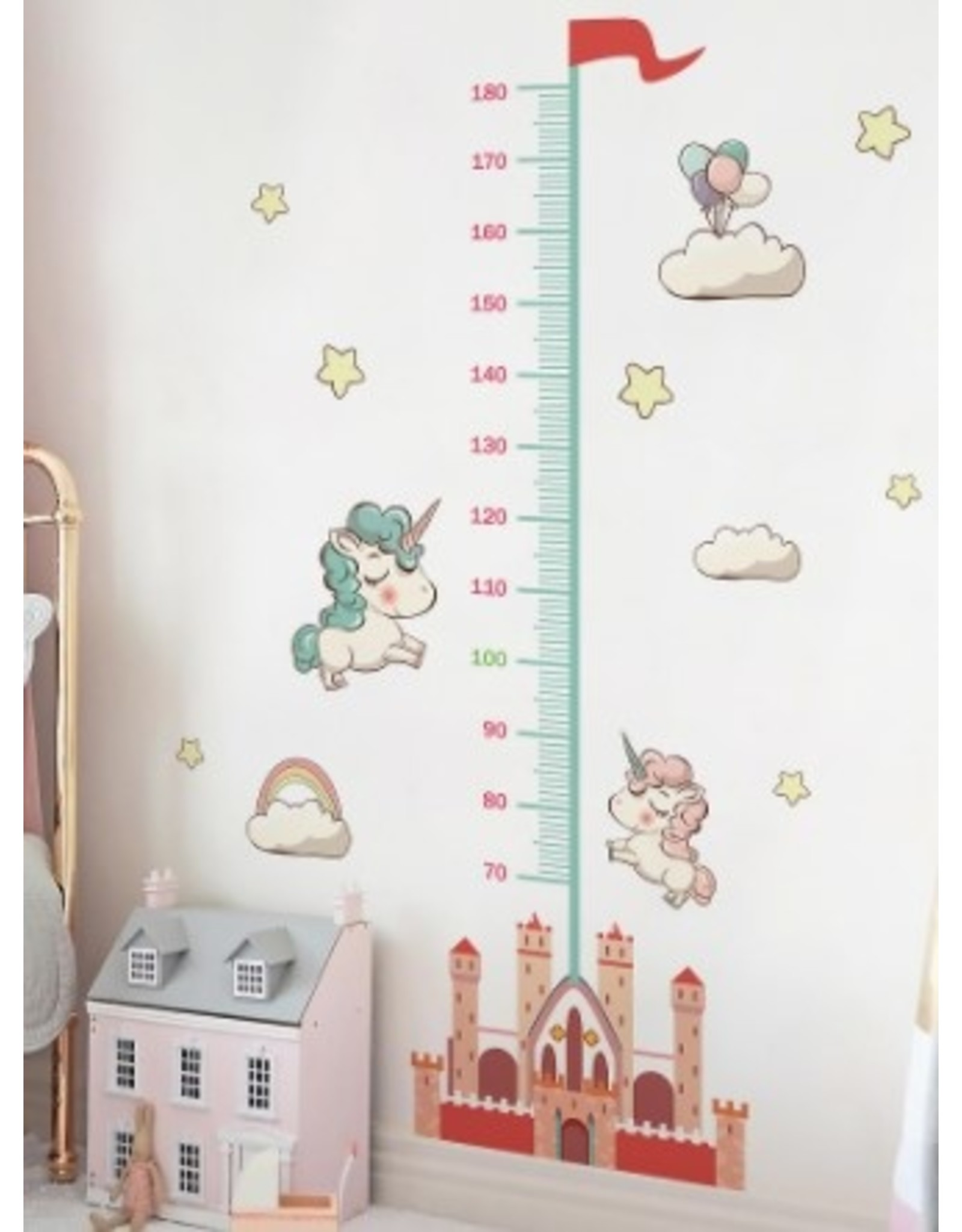 Stick-on Height Ruler with Unicorn and Castle