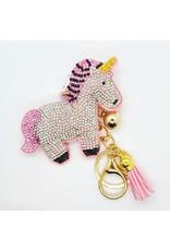 Porte-clé Licorne rose à paillettes