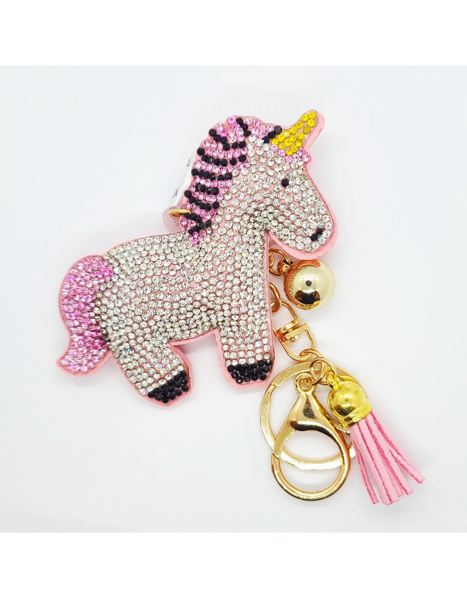 Glittered Pink Unicorn Key chain