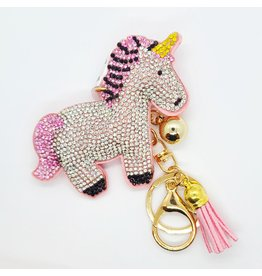 Glittered Pink Unicorn Key chain