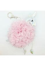 Pink Unicorn Pompom Keychain