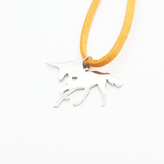 La Licornerie ♥♥ Suede Necklace with Stainless Steel Unicorn