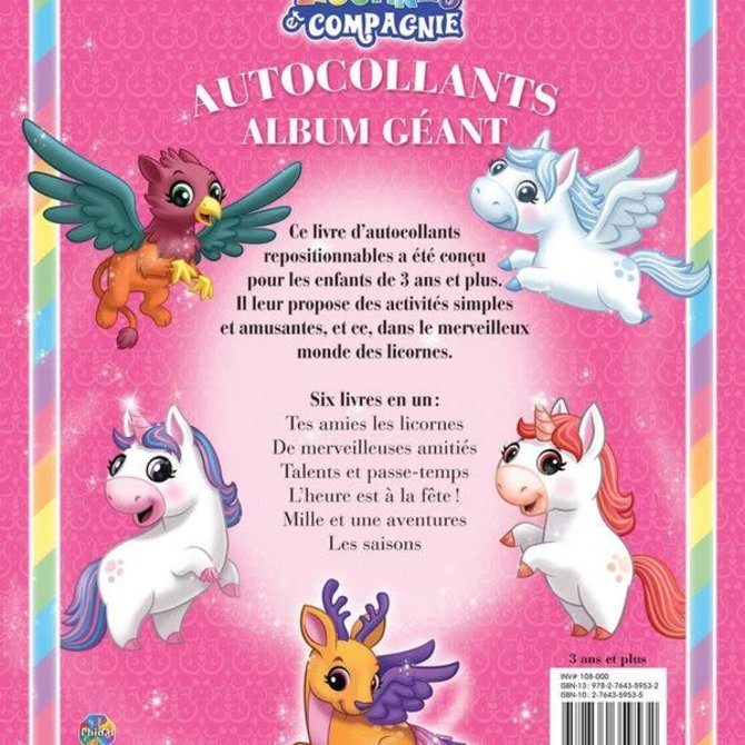 Livre Licornes et Compagnie (Album de 350 autocollants géants)