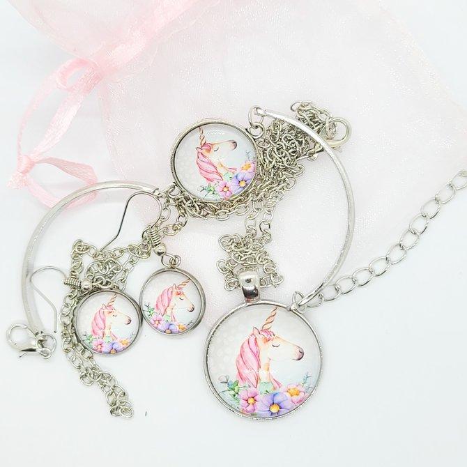 La Licornerie Necklace, Earrings and Bracelet Unicorn Set