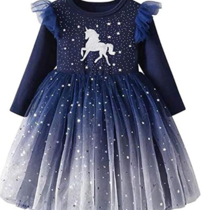 Robe licorne étoilée marine (3-4 ans)